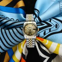 Rolex Datejust Automatic Two Tone with Golden Dial Sapphire Glass(Gift Box & Extra Strap are Included)