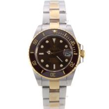 Rolex Submariner Automatic Two Tone with Brown Bezel and Dial Medium Size
