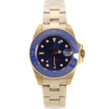 Rolex GMT-Master II Automatic Full Yellow Gold with Blue Bezel and Dial Sapphire Glass