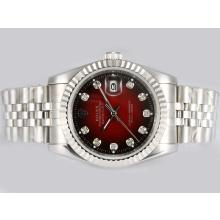 Rolex Datejust Automatic Diamond Markings with Red Dial