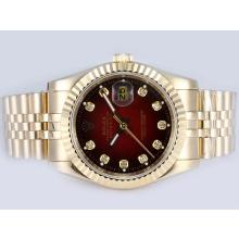 Rolex Datejust Automatic Full Gold Diamond Markings with Red Dial