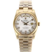 Rolex Day-Date Automatic Full Gold with White Dial Number Marking