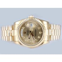 Rolex Day-Date Automatic Full Gold Diamond Marking with Golden Dial