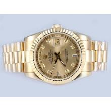 Rolex Day-Date Automatic Full Gold Diamond Markings with Golden Dial