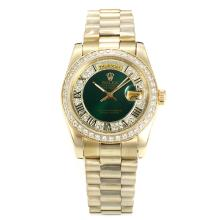 Rolex Day-Date Automatic Full Gold Diamond Bezel with Green Dial Roman Marking