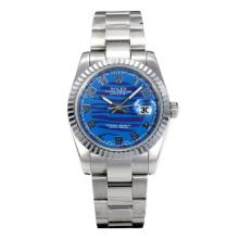 Rolex Datejust Automatic Number Markers with Dark Blue Waved Dial S/S