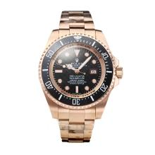 Rolex Sea Dweller Automatic Rose Gold Case Ceramic Bezel with Black Carbon Fibre Style Dial Same Chassis as Swiss Version