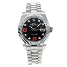Rolex DateJust II Automatic Diamond Bezel with Black Dial S/S-Diamond Markers-1
