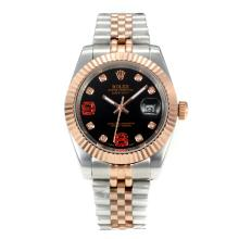 Rolex DateJust II Automatic Two Tone with Black Dial Diamond Markers-1