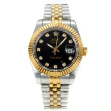 Rolex DateJust II Automatic Two Tone with Black Dial Diamond Markers