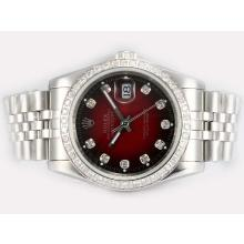 Rolex Datejust Automatic Diamond Bezel and Marking with Red Dial