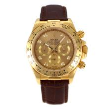 Rolex Daytona Working Chronograph Gold Case Diamond Markers with Golden Dial Leather Strap
