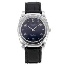 Rolex Cellini with Black Dial Leather Strap-Sapphire Glass