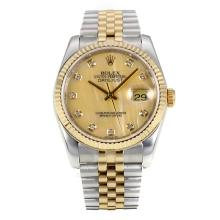 Rolex Datejust Automatic Two Tone Diamond Markers with MOP Dial Same Chassis as ETA Version