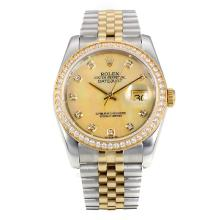 Rolex Datejust Automatic Two Tone Diamond Bezel with MOP Dial Same Chassis as ETA Version