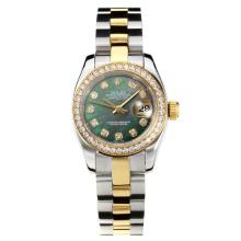 Rolex Datejust Automatic Two Tone Diamond Bezel with Dark Green MOP Dial Same Chassis as ETA Version-1