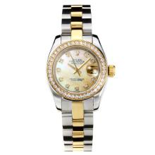 Rolex Datejust Automatic Two Tone Diamond Bezel with Apricot MOP Dial Same Chassis as ETA Version-1