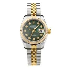 Rolex Datejust Automatic Two Tone Diamond Markers with Dark Green MOP Dial Same Chassis as ETA Version
