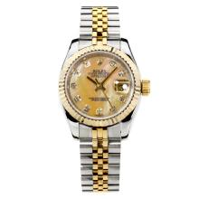 Rolex Datejust Automatic Two Tone Diamond Markers with Apricot MOP Dial Same Chassis as ETA Version