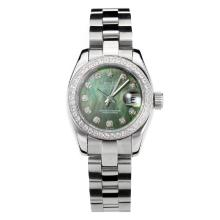 Rolex Datejust Automatic Diamond Bezel with Dark Green MOP Dial S/S Same Chassis as ETA Version-2