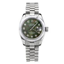 Rolex Datejust Automatic Diamond Markers With Dark Green MOP Dial S/S Same Chassis as ETA Version