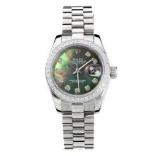 Rolex Datejust Automatic Diamond Bezel with Dark Green MOP Dial S/S Same Chassis as ETA Version-1