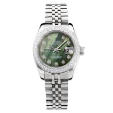 Rolex Datejust Automatic Diamond Bezel with Dark Green MOP Dial S/S Same Chassis as ETA Version
