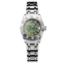 Rolex Masterpiece Automatic Diamond Bezel with Drak Green MOP Dial S/S Same Chassis as ETA Version