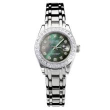 Rolex Masterpiece Automatic Diamond Bezel with Dark Green MOP Dial S/S Same Chassis as ETA Version-1