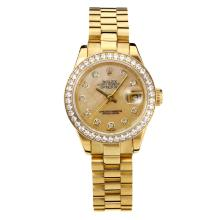 Rolex Datejust Automatic Full Gold Diamond Bezel with Apricot MOP Dial Same Chassis as ETA Version