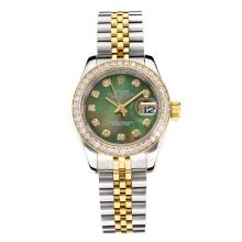 Rolex Datejust Automatic Two Tone Diamond Bezel with Dark Green MOP Dial Same Chassis as ETA Version
