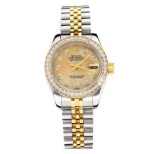 Rolex Datejust Automatic Two Tone Diamond Bezel with Apricot MOP Dial Same Chassis as ETA Version