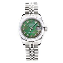Rolex Datejust Automatic Diamond Markers with Dark Green MOP Dial Same Chassis as ETA Version