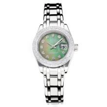 Rolex Masterpiece Automatic Diamond Bezel with Dark Green MOP Dial S/S Same Chassis as ETA Version