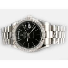 Rolex Day-Date Automatic Diamond Bezel with Black Dial Stick Marking