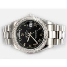 Rolex Day-Date Automatic Diamond Bezel with Black Dial Roman Marking