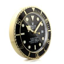 Rolex Submariner Black Bezel Yellow Gold Case Wall Clock with Black Dial