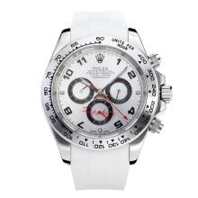 Rolex Daytona II Automatic with White Dial Rubber Strap-Red Needle