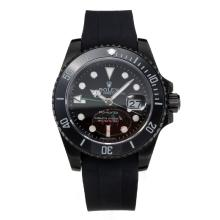 Rolex GMT-Master II Automatic Ceramic Bezel PVD Case with Black Dial Rubber Strap-Green Needle