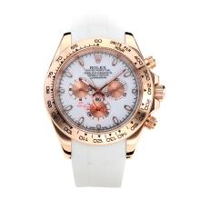 Rolex Daytona II Automatic Rose Gold Case with White Dial Rubber Strap