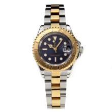 Rolex Yachtmaster Super Luminous Swiss ETA 2671 Automatic Movement Two Tone with Black Dial Sapphire Glass