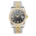 Rolex Datejust Swiss Cal 3135 Movement Two Tone Diamond Bezel with Super Luminous Grey Dial Sapphire Glass