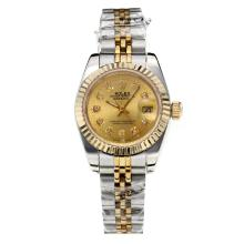 Rolex Datejust Automatic Two Tone Diamond Markers with Golden Dial Sapphire Glass