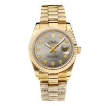 Rolex Datejust Automatic Full Gold Diamond Markers with Gray Dial