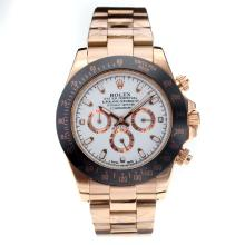 Rolex Daytona II Oyster Perpetual Automatic Rose Gold Case Ceramic Bezel with White Dial
