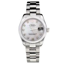 Rolex Datejust Swiss ETA 2355 Automatic Movement with White Shell Dial S/S-Stone Markers-Sapphire Glass