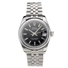 Rolex Datejust Swiss ETA 2355 Automatic Movement with Black Dial S/S-Stick Markers-Sapphire Glass