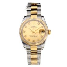 Rolex Datejust Swiss ETA 2355 Automatic Movement Two Tone with Golden Dial Sapphire Glass-1