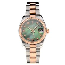Rolex Datejust Swiss ETA 2355 Automatic Movement Two Tone with Green Dial Sapphire Glass