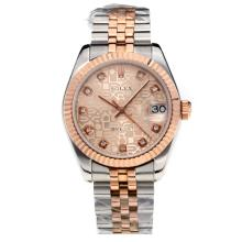 Rolex Datejust Swiss ETA 2355 Automatic Movement Two Tone with Champagne computer Dial Sapphire Glass